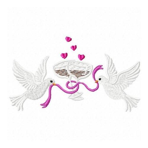 pombinhos casamento 002 - coleção de matriz de bordado