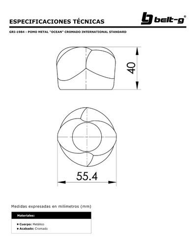 pomo metal ocean cromo international std. belt-g gri-1984