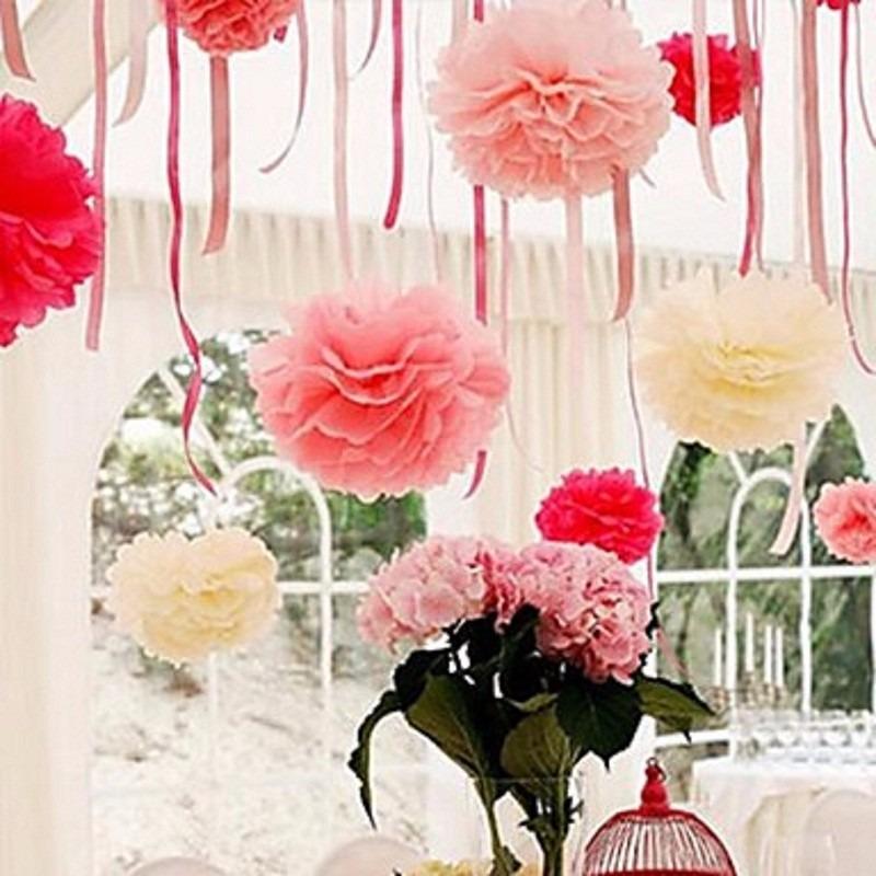 pompom papel seda bola de flor decora ao cha de bebe fraldas r 5 02 em mercado livre. Black Bedroom Furniture Sets. Home Design Ideas