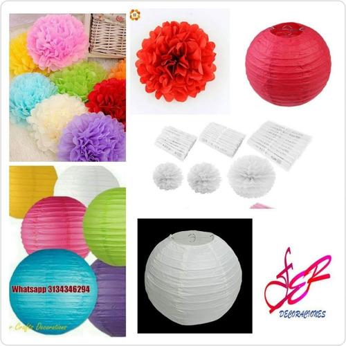 pompones bolas chinas colgantes pantallas lámparas japonesas