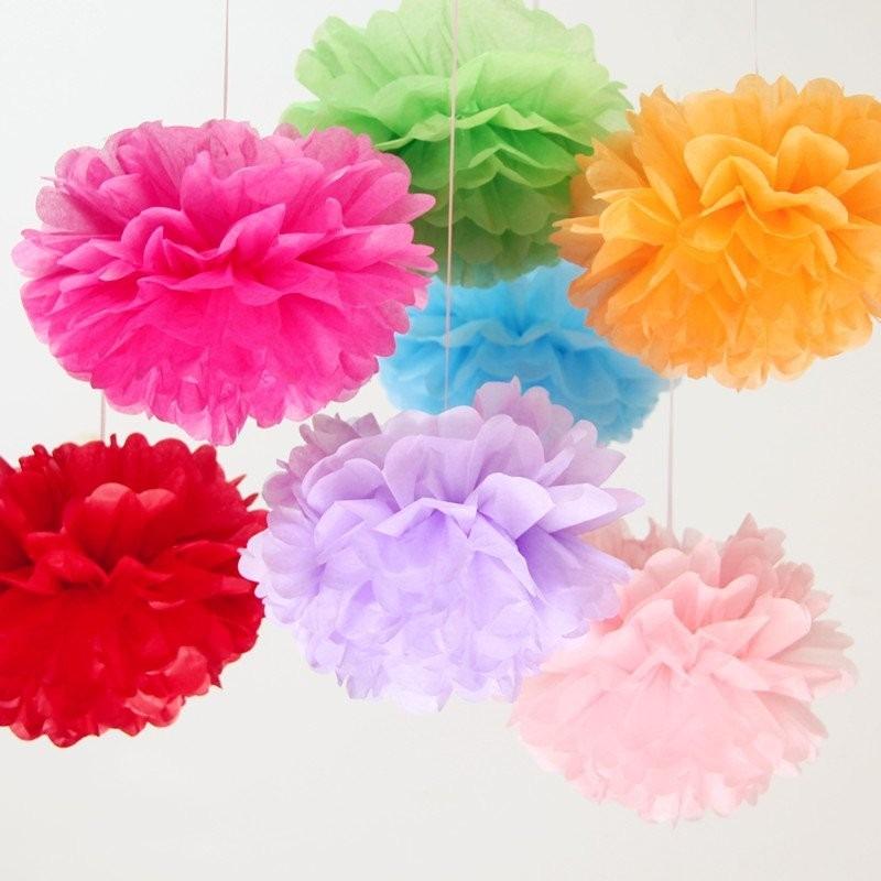 pompones de papel crep o bolas de papel decoracin fiestas
