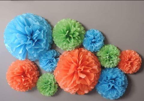 pompones de papel de seda, decoraciones infantiles y mas....