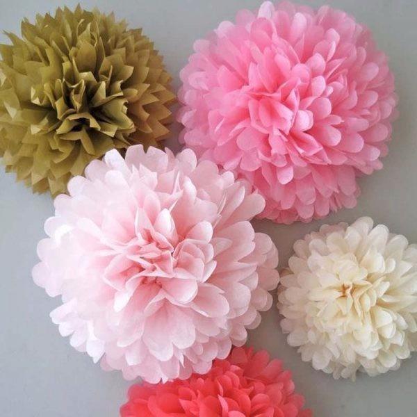Pompones de papel de seda flores de 30 cm 22 00 en - Pompones con papel de seda ...