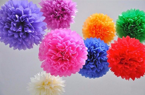 pompones de papel seda 35 cm decoración, baby shower, fiesta