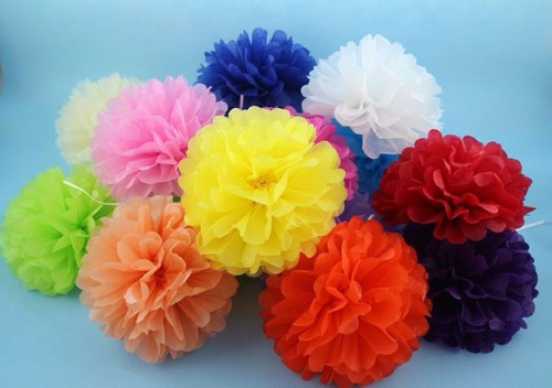 pompones de papel seda 49 cm decoración, baby shower, fiesta