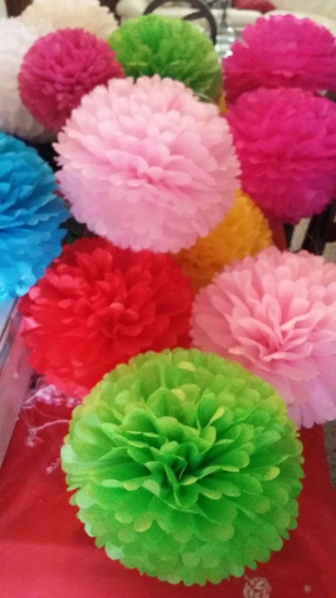 Pompones de papel seda para decorar bs 500 00 en - Pompones con papel de seda ...
