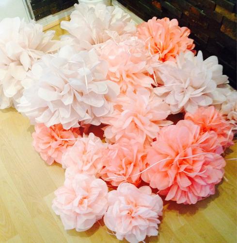 pompones decorativos de papel 34 cms