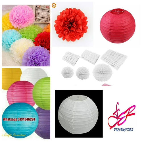 pompones flor papel seda lamparas chinos bombas hallooween