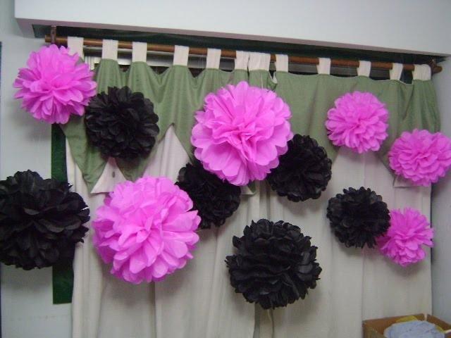 Decoracion de papel crepe ideas para decoracin pompones - Decoracion con cintas de papel ...