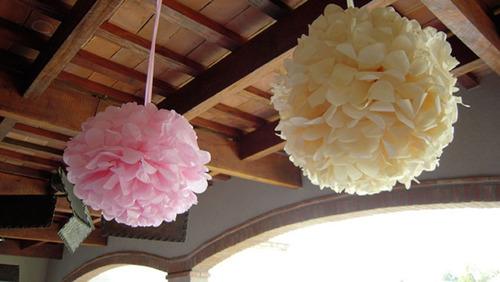 pompones papel seda, pack x 100 u de media flor 15 cm