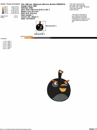 ponchados diseños para maquina de bordar angry birds