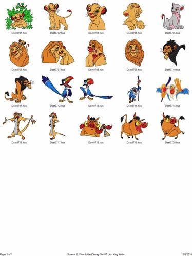 ponchados diseños para maquina de bordar lion king
