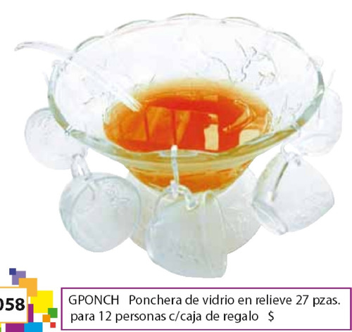 ponchera de vidrio en relieve 27 pzas. para 12 personas c/ca