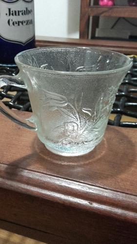 ponchera de vidrio labrado 8 tazas y cucharon impecable