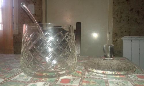 ponchera de vidrio tallado de 3 litros de capacidad