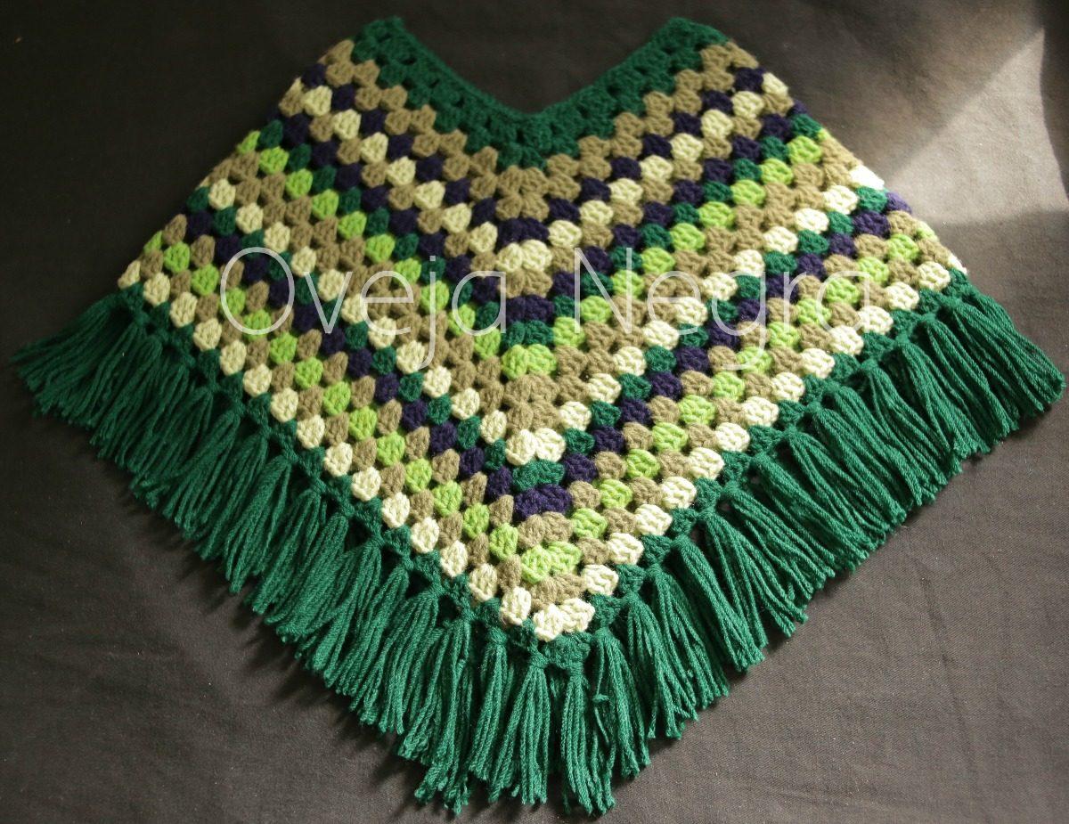 Poncho Bebe Tejido A Mano Crochet - $ 350,00 en Mercado Libre