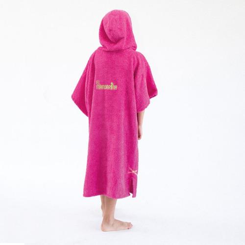 poncho cambiador de toalla - fucsia c/ verde 8 a 12 años
