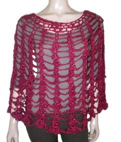 2af996271 Poncho Capa Calado Tejido Crochet Liviano Mujer Primavera