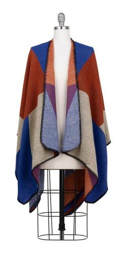 poncho, capa, chal, tejido de punto, colores combinados.