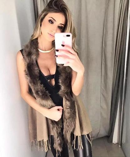 poncho colete de lã com pelos sintetico roupas femininas