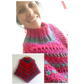 9874c7fc0 Capas Tejidas En Crochet - Ponchos de Mujer Rojo en Mercado Libre ...