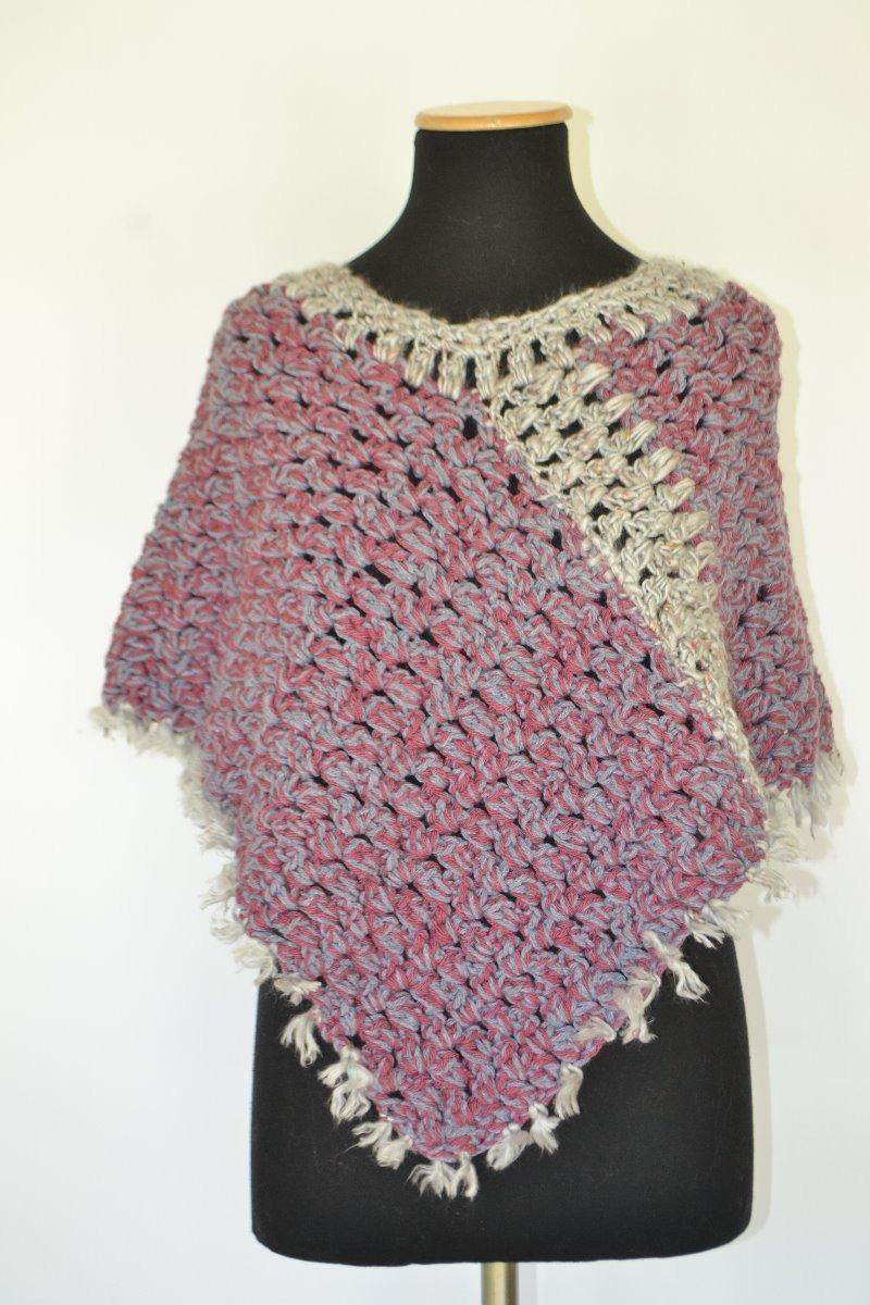 Poncho Crochet Lanacapita Crochetbordogristejidos Artesa