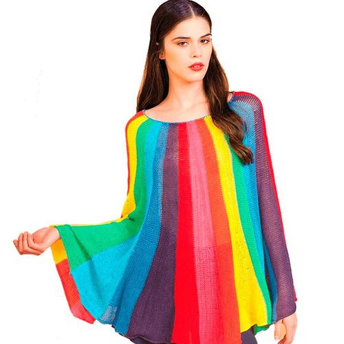 poncho de verano chaleco largo sweater tejido algodon