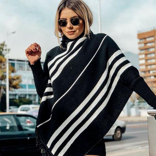 poncho feminino de lã capa tricot sobretudo tricô inverno