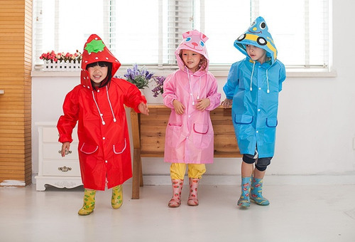 poncho impermeable capa lluvia niños kinder guarderia pintar