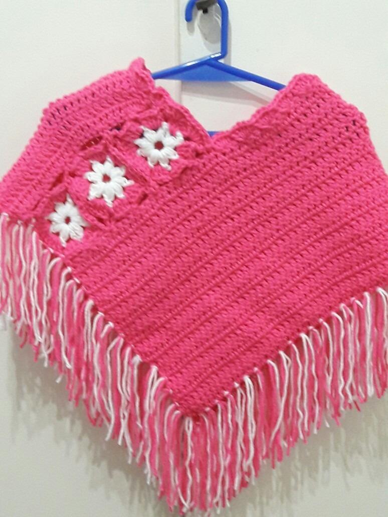 Poncho Nena Bebe Tejido A Crochet - $ 580,00 en Mercado Libre