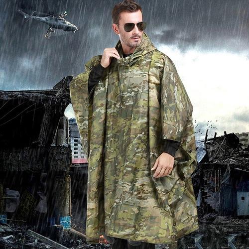 poncho o manga impermeable wood camo militar tactico lluvia