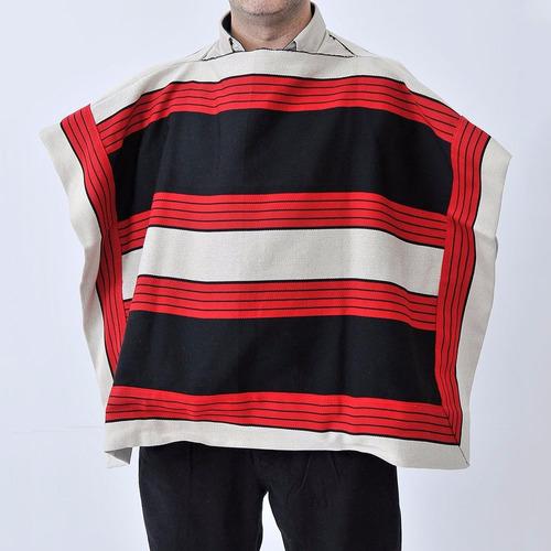 poncho pala chileno corralero preto e vermelho