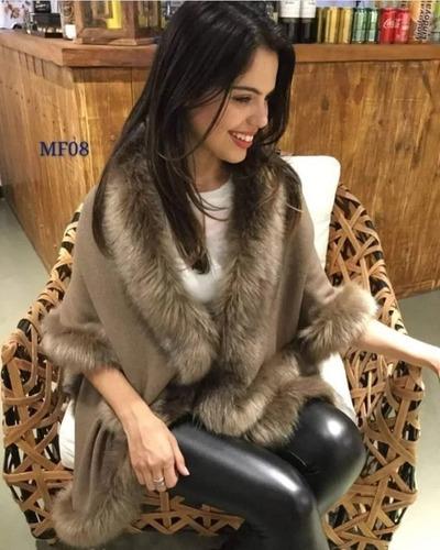 poncho pelerine de lã com pelos sintetico roupas femininas