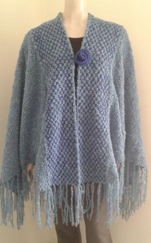 poncho ruana capa extra grande tejido telar lana abrigo moda
