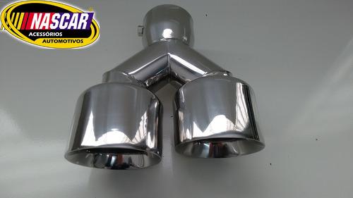 ponteira dupla universal bocal 88,9 sport em aço inox 304