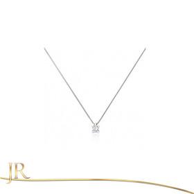 Ponto De Luz De Ouro Branco 18k Com Diamante De 0,10 Cts