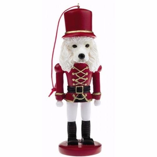 poodle blanco soldadito cascanueces - adorno navideño ceram