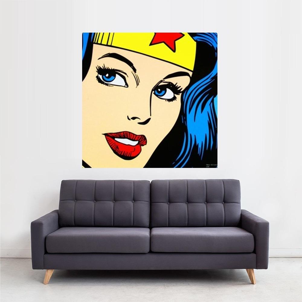 Cuadro Pop Art Mujer Maravilla 100x100cm Pintado A Mano! - $ 1.699 ...