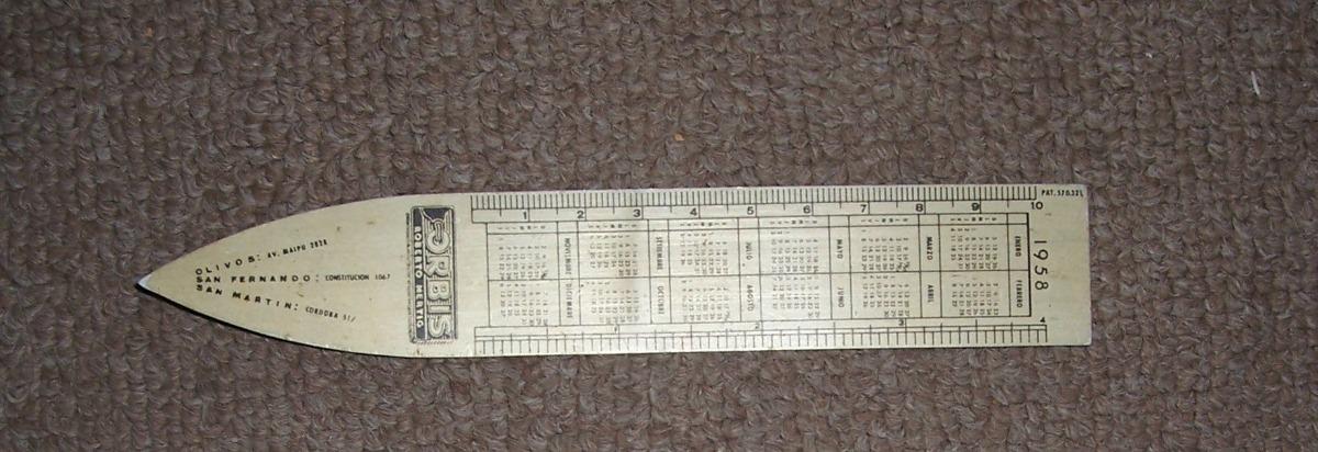 Calendario 1958.Popei Regla Aluminio Orbis Calendario 1958 De 10 Cm 143 00