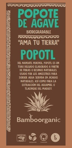 popote biodegradable agave popotl by bamboorganic 2000 bio