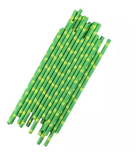 popote biodegradable papel 25 piezas ecologicos bambu /e