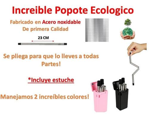 popote metalico plegable ecologico acero premium
