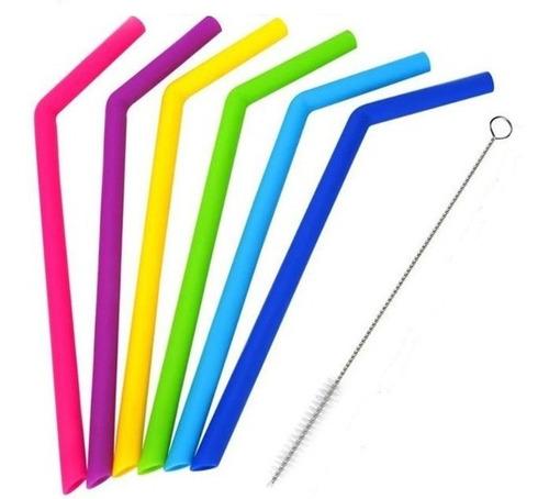 popote silicon 6 piezas cepillo ecologico reusable colores