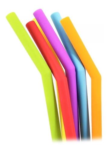 popote silicona 6 piezas ecológico colores flexible /e
