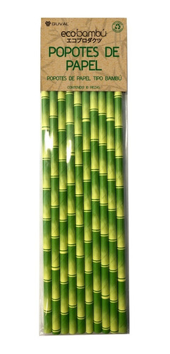 popotes de papel con diseño de bambú biodegradables 10pzs