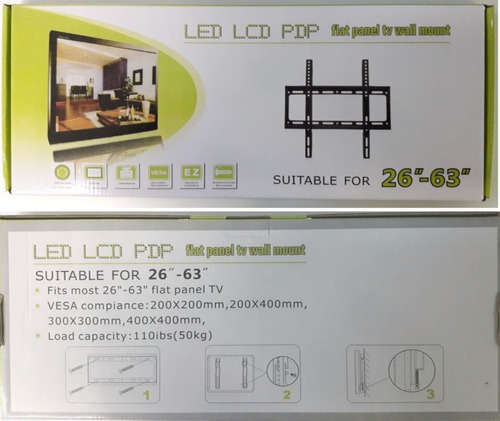 por mayor 10u soporte tv led lcd fijo extra chato de 26 a 63