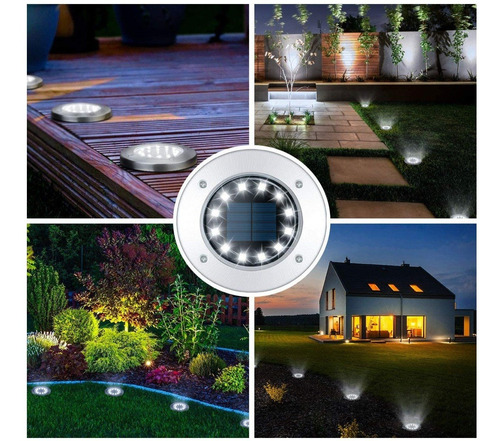 por mayor 6u farol estaca 12 led luz solar jardin camino