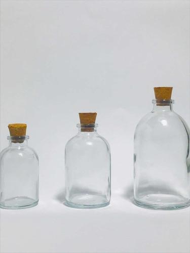 por mayor y menor  25 botellitas vidrio 50cc corcho incluido
