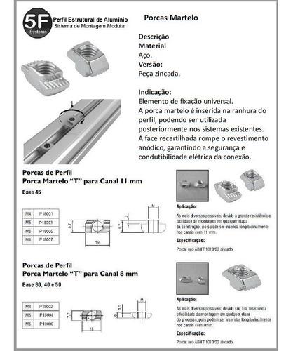 porca martelo m8  canal 10/11 kit com 10 unidades