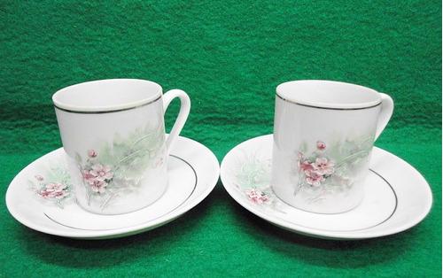 porcelana 2 xicaras e pires de café antiga real pintada mão